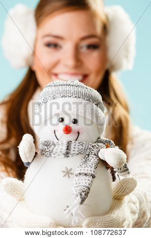 Girl With Xmas Snowman.