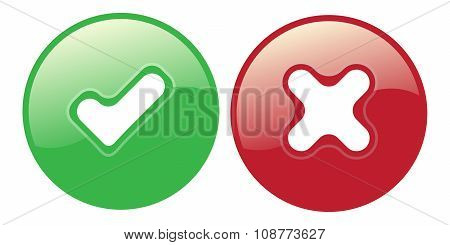 Yes No Check Choice Mark Button Vector Web Vote Icon