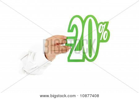Twenty Percent Discount Sign, Hand.