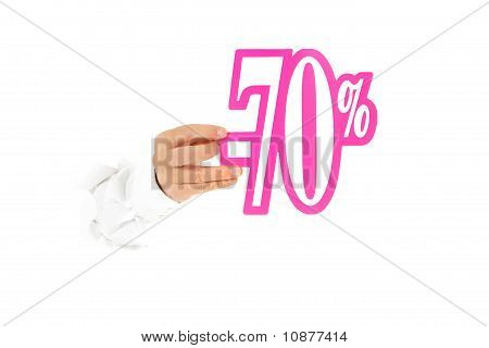 Seventy Percent Discount Sign, Hand.