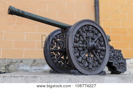 Old medieval artillery iron cannon.