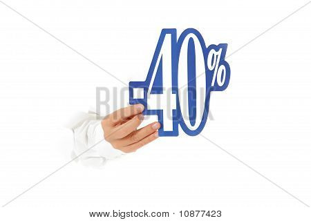 Forty Percent Discount Sign, Hand.
