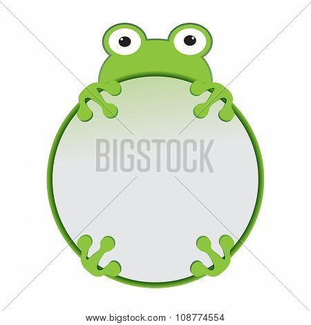 Cute Cartoon Green Frog Frame Vector Animal
