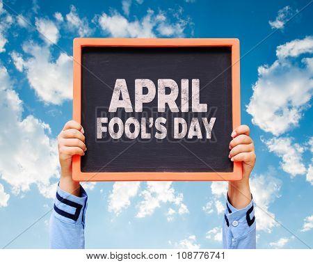 April Fools' Day Written On A Chalkboard.