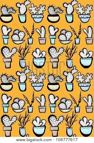 Hand Drawn Cactus Seamless Pattern.