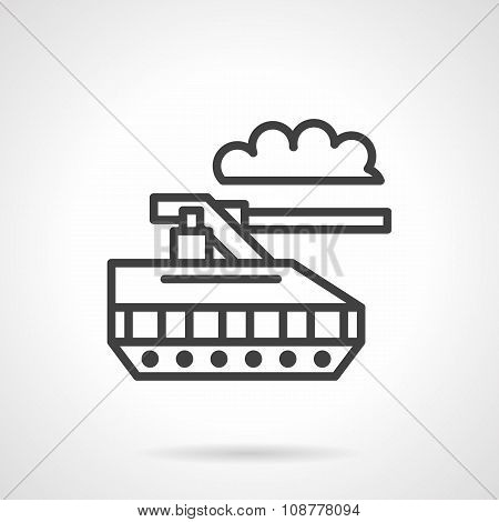 Military robot black line vector icon