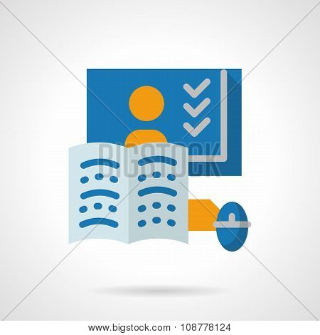 Online training flat color vector icon