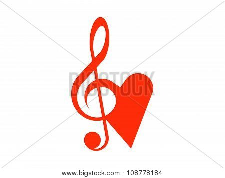 Treble clef and heart