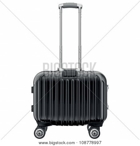 Black luggage on wheels, front view