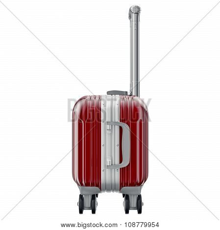 Red luggage on wheels, side view