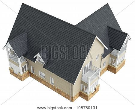 Big house with tile roof, top view