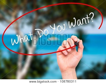 Man Hand writing What Do You Want? with black marker on visual screen.