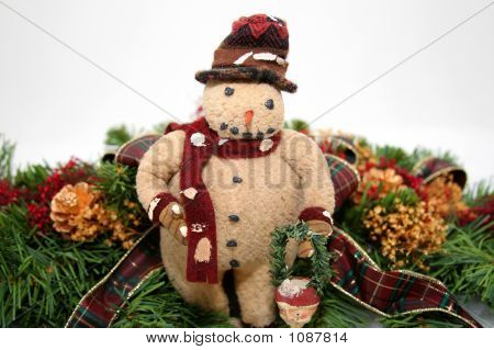 Old Fashion Snowman And Greenery