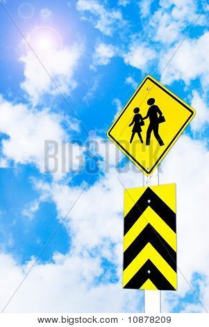 School Warning Traffic Road Sign On Beautiful Sky