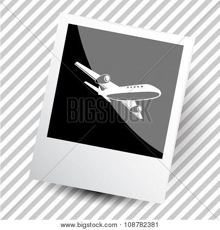 airliner. Photoframe. Raster icon.