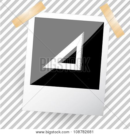 triangle ruler. Photoframe. Raster icon.