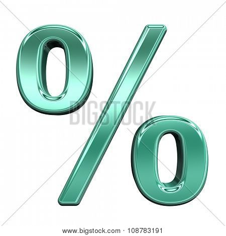Percent sign from shiny turquoise alphabet set, isolated on white. Computer generated 3D photo rendering.