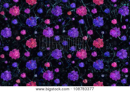 Grunge Floral Print Seamless Pattern