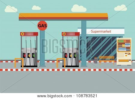 Gas Station Vector Flat Illustration.