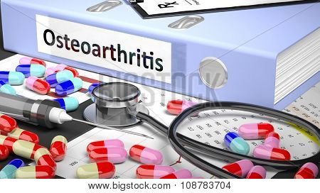 Illustration of doctor's desktop with different pills, capsules, stethoscope, syringe, light blue folder with label 'Osteoarthritis'