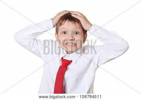 Stressed Schoolboy Holding His Head, Frustration Or Fear, Isolated In White Background.
