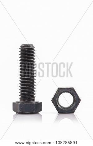 Closeup Metal Screw, Bolt And Nuts.