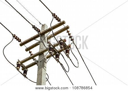 Wire Cables On Electricity Pole In The City For Safety Concept On White Background