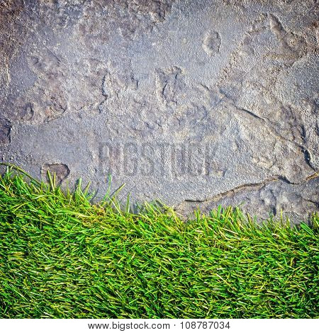 Close-up Grass And Stone Texture Background