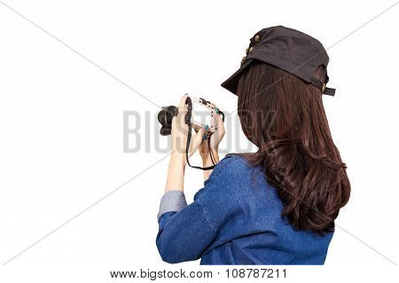 Woman Traveler Wearing Blue Dress As Photographer, Take Photo With Camera Outdoor, Isolated On White