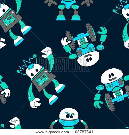 Cute Robots In A Seamless Pattern On Navy Background