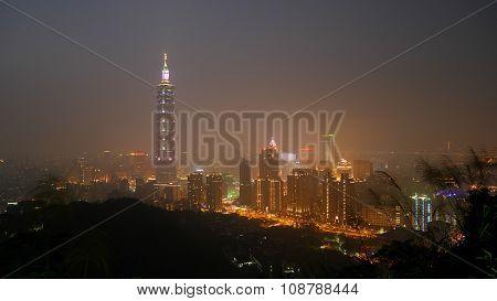 Taipei city at night in Taiwan