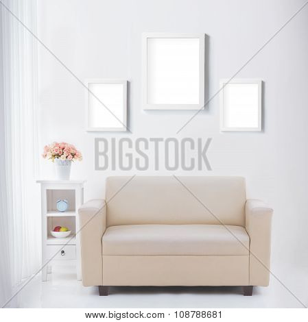 Living Room With Blank Poster Or Photo Frame