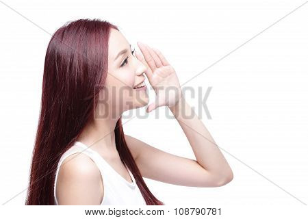 Beauty Woman Shouting Something