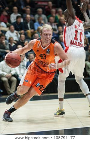 VALENCIA, SPAIN - NOVEMBER 18th: Sikma with ball (10) Sy during Eurocup between Valencia Basket Club and Sluc Nancy at Fonteta Stadium on November 18, 2015 in Valencia, Spain