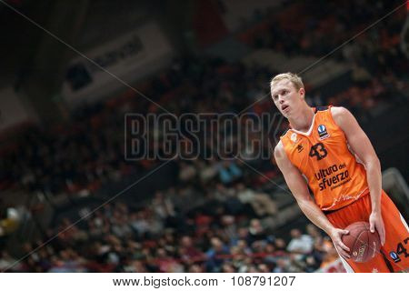 VALENCIA, SPAIN - NOVEMBER 18th: Sikma during Eurocup between Valencia Basket Club and Sluc Nancy at Fonteta Stadium on November 18, 2015 in Valencia, Spain