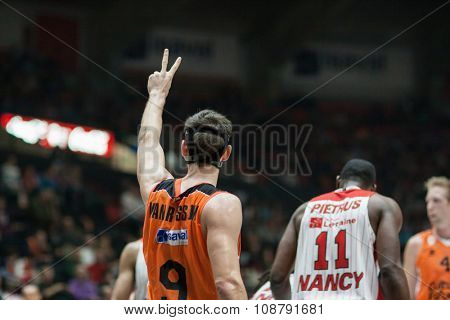 VALENCIA, SPAIN - NOVEMBER 18th: Van Rossom (9) during Eurocup between Valencia Basket Club and Sluc Nancy at Fonteta Stadium on November 18, 2015 in Valencia, Spain