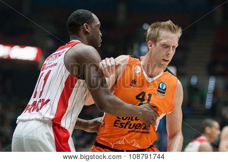 VALENCIA, SPAIN - NOVEMBER 18th: (11) Pietrus (41) Hamilton during Eurocup between Valencia Basket Club and Sluc Nancy at Fonteta Stadium on November 18, 2015 in Valencia, Spain