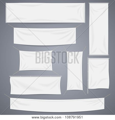 White textile banners with folds vector template set. Separate shadows may be used for any color