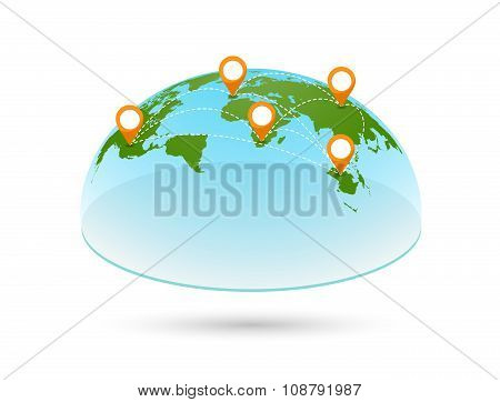 Vector 3D world map with pins