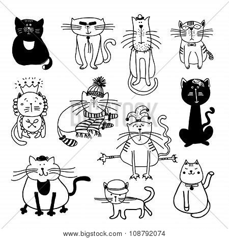 Cute cats vector sketch illustration