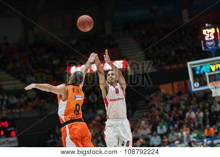 VALENCIA, SPAIN - NOVEMBER 18th: Sene (8) and Diot (L) during Eurocup between Valencia Basket Club and Sluc Nancy at Fonteta Stadium on November 18, 2015 in Valencia, Spain