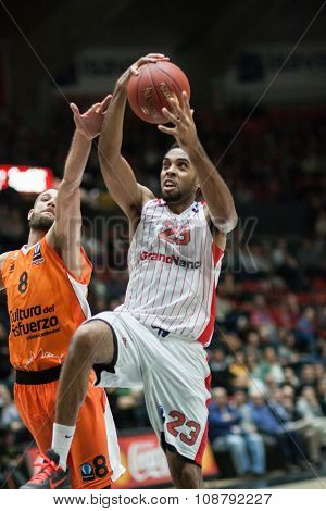 VALENCIA, SPAIN - NOVEMBER 18th: Kitchen with ball during Eurocup between Valencia Basket Club and Sluc Nancy at Fonteta Stadium on November 18, 2015 in Valencia, Spain