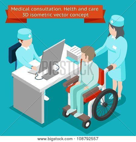 Medical consultation. Health and care 3D isometric vector concept