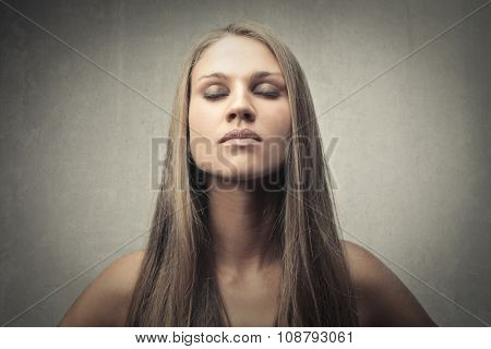 Blonde woman's face