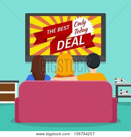 People watching advertising on television. Vector flat illustration