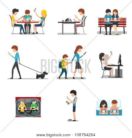 People in different action use smartphone. Vector mobile device, social media and internet addiction