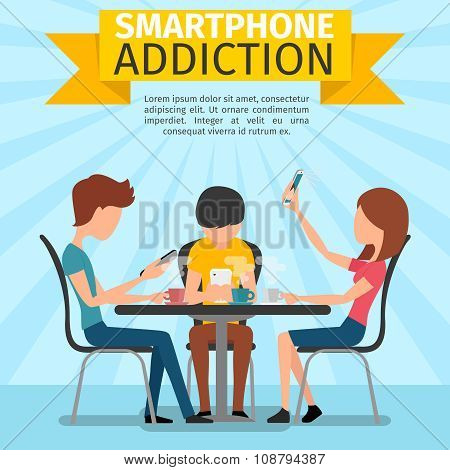 Smartphone, social media and internet addiction vector background
