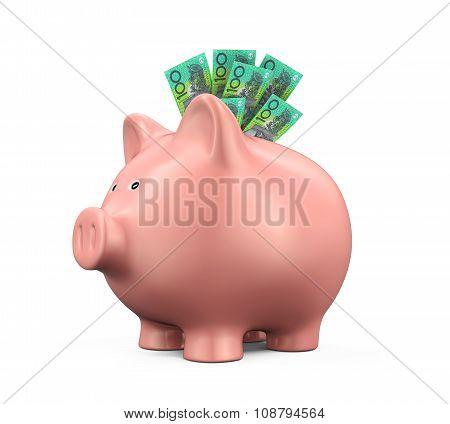 Piggy Bank with Australian Dollar