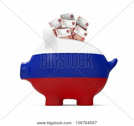 Piggy Bank with Russian Ruble