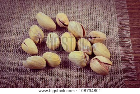 Vintage Photo, Pistachio Nuts On Wooden Table, Healthy Eating